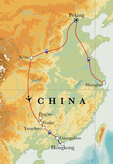 Route Rundreise China, 17 Tage