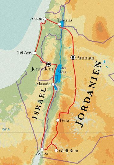 Route Rundreise Israel mit Palästina & Jordanien, 15 Tage