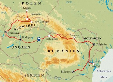Route Rundreise Zentraleuropa, 21 Tage