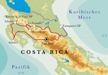 Route Rundreise Costa Rica, 15 Tage