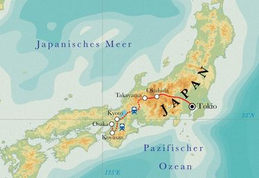 Route Rundreise Japan, 16 Tage