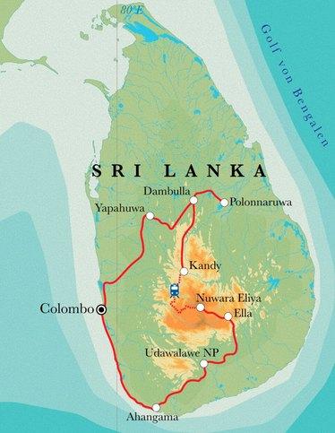 Route Sri Lanka, 15 Tage Fahrradreise