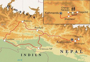 Route Rundreise Nepal, 16 Tage
