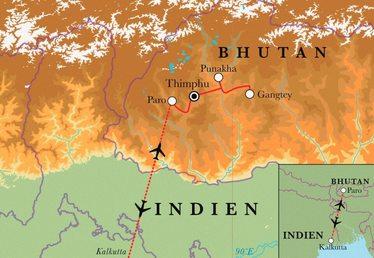 Route Rundreise Bhutan, 13 Tage
