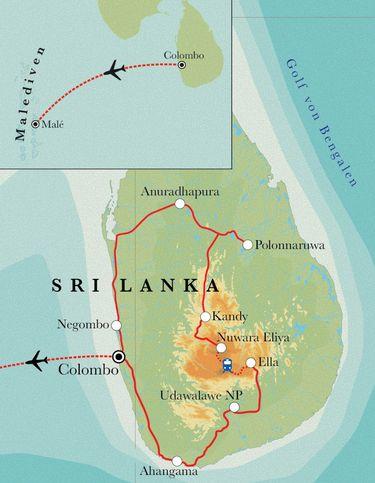 Route Rundreise Sri Lanka & Malediven, 21 Tage