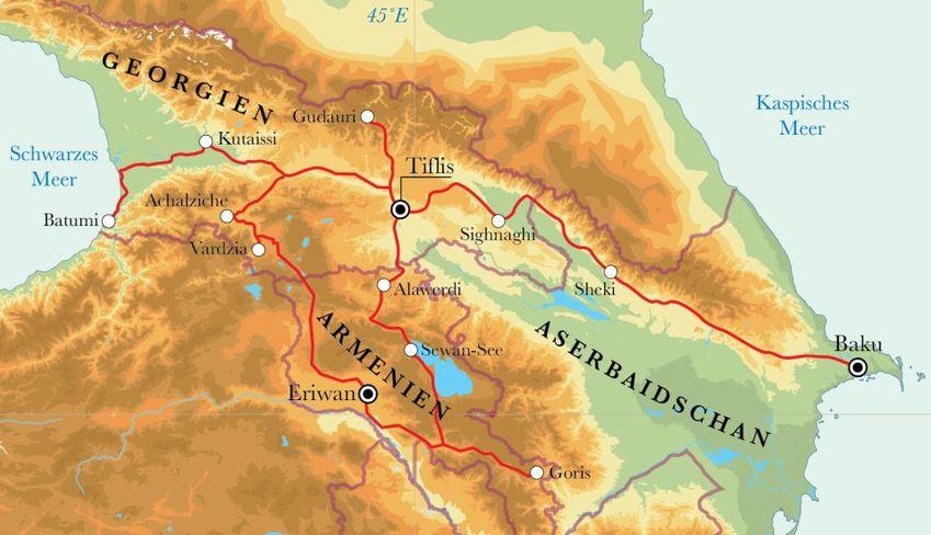 Route Aserbaidschan, Georgien & Armenien , 21 Tage