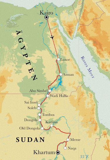 Route Rundreise Ägypten & Sudan, 19 Tage