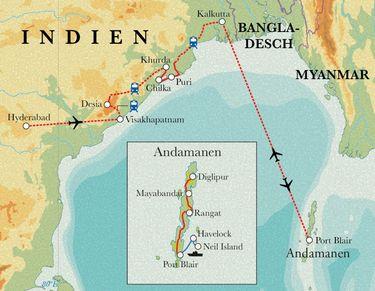 Route Rundreise Ostindien & Andamanen, 24 Tage