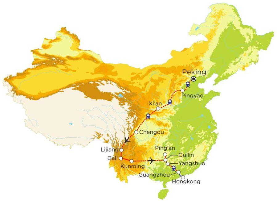 Routekaart Rundreise China mit Kindern, 23 Tage
