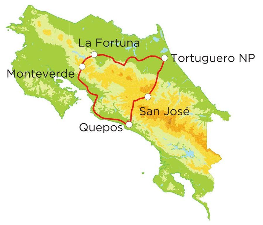 Routekaart Rundreise Costa Rica mit Kindern, 15 Tage