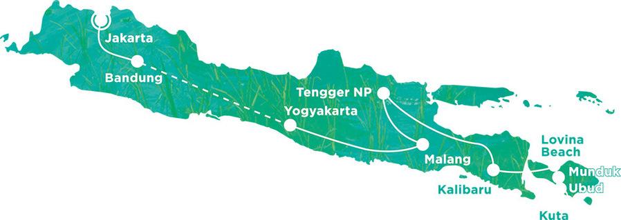 Routekaart Rundreise Indonesien mit Kindern, 21 Tage