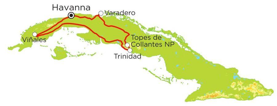 Routekaart Rundreise Kuba mit Kindern, 15 Tage