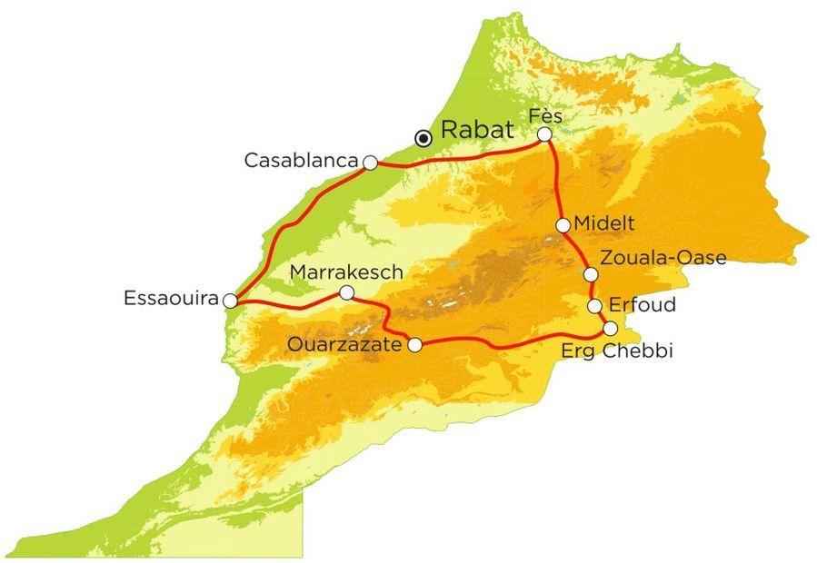 Routekaart Rundreise Marokko mit Kindern, 15 Tage