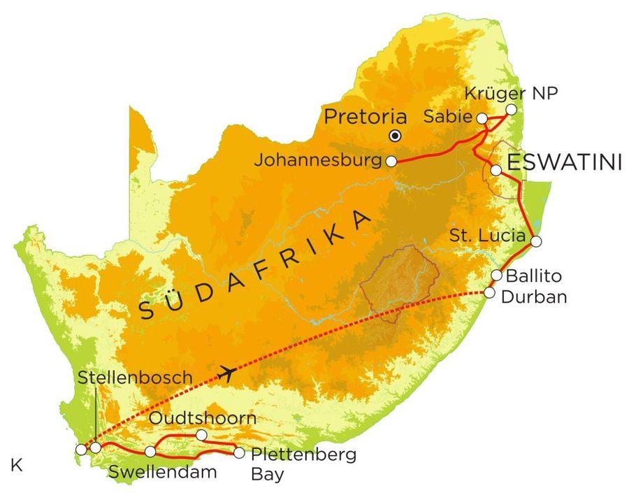 Routekaart Rundreise Südafrika mit Kindern, 21 Tage