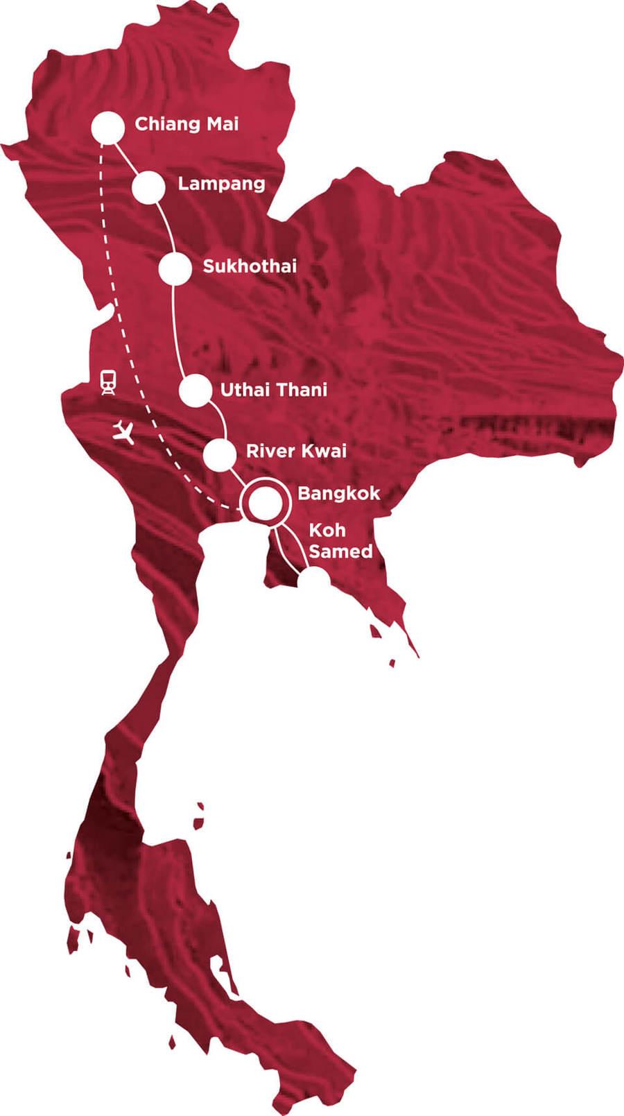 Routekaart Rundreise Thailand mit Kindern, 15 Tage