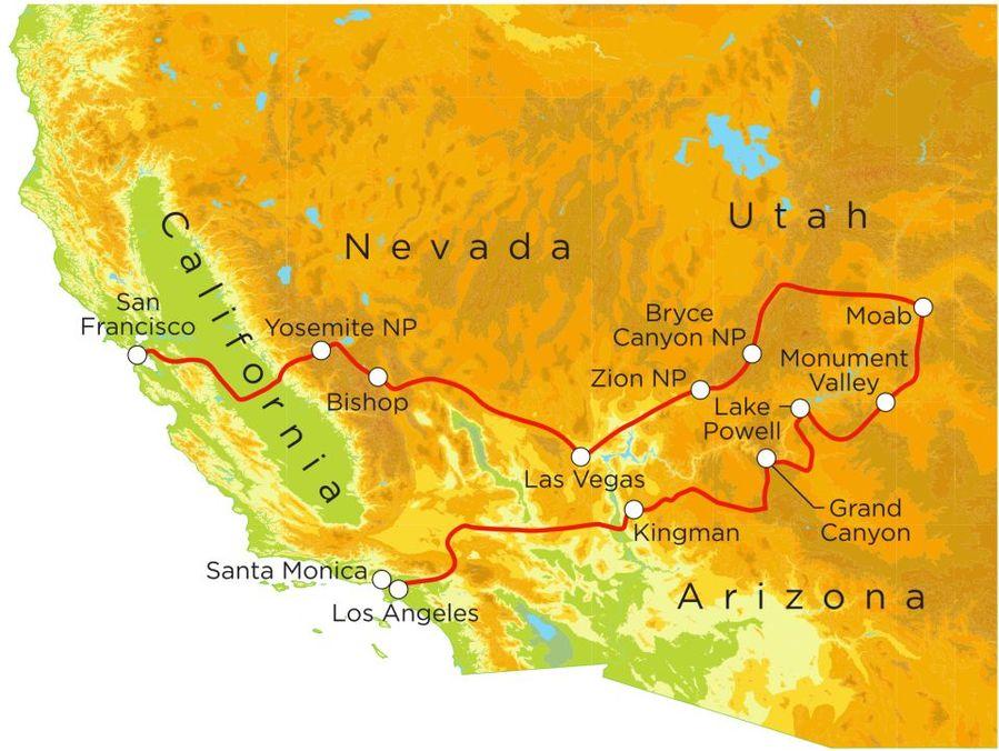 Routekaart Rundreise USA - der Westen mit Kindern, 21 Tage