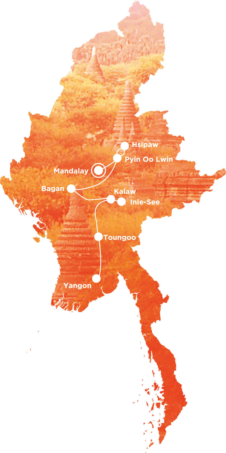 Routekaart Rundreise Myanmar mit Kindern, 15 Tage