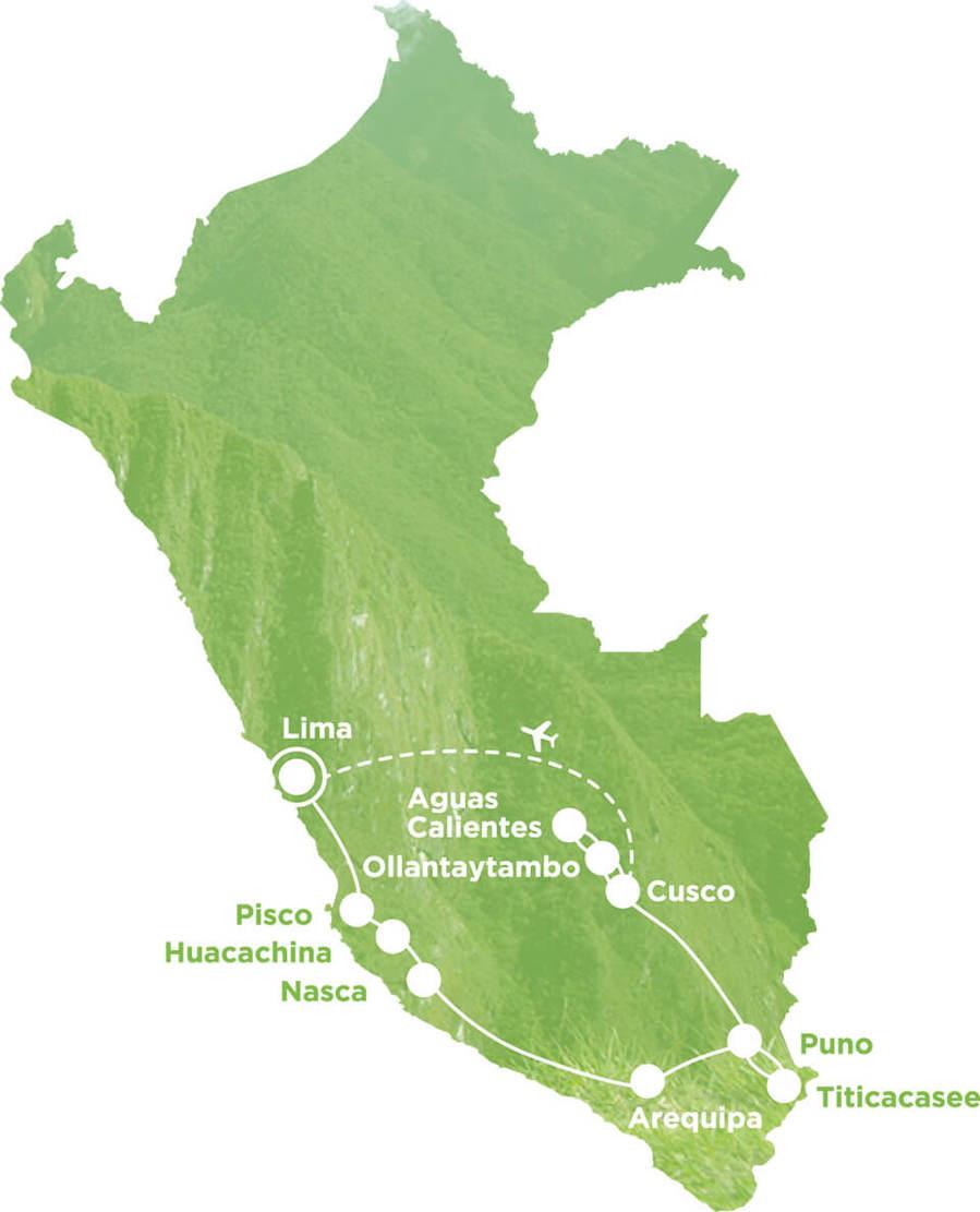 Routekaart Rundreise Peru mit Kindern, 21 Tage