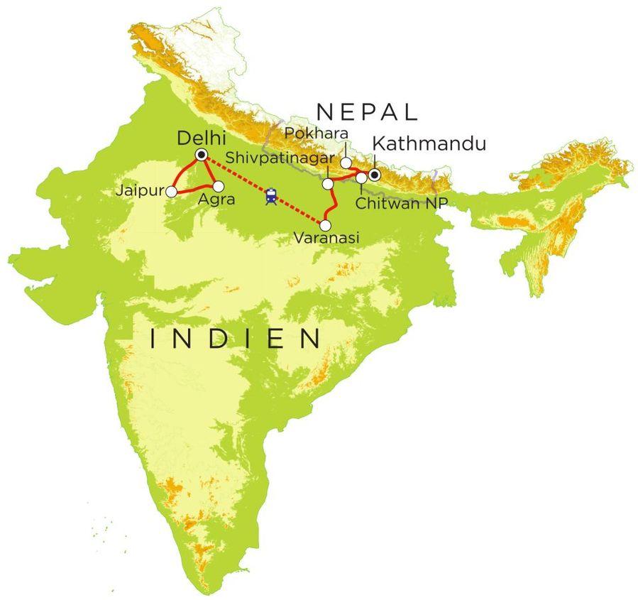 Routekaart Rundreise Indien & Nepal mit Kindern, 21 Tage