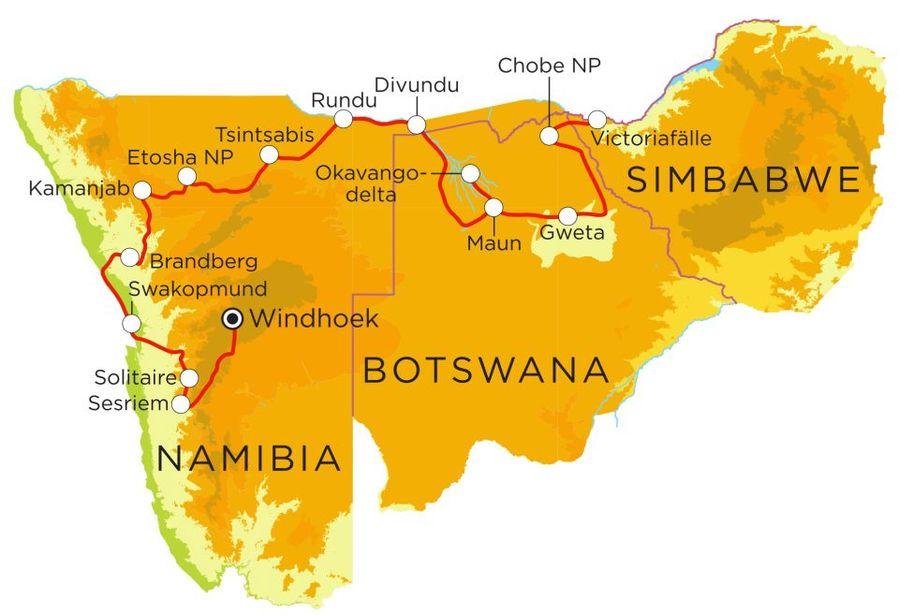 Routekaart Rundreise Namibia, Botswana & Simbabwe mit Kindern, 22 Tage