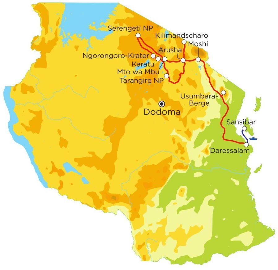 Routekaart Rundreise Tansania & Sansibar mit Kindern, 21 Tage