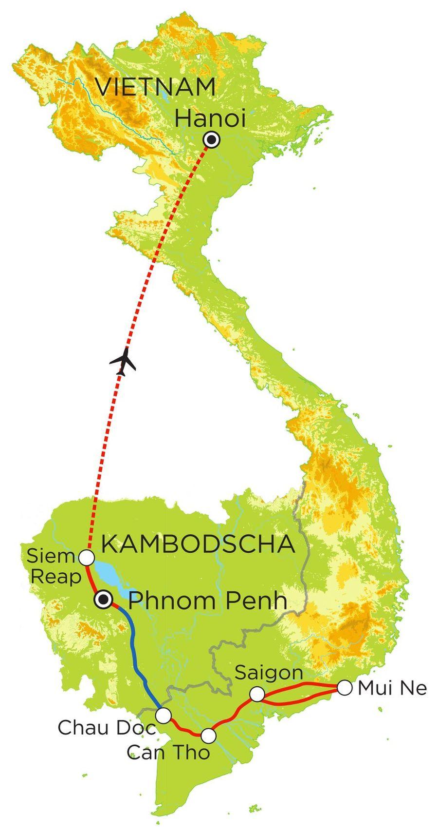 Routekaart Rundreise Vietnam & Kambodscha mit Kindern, 15 Tage