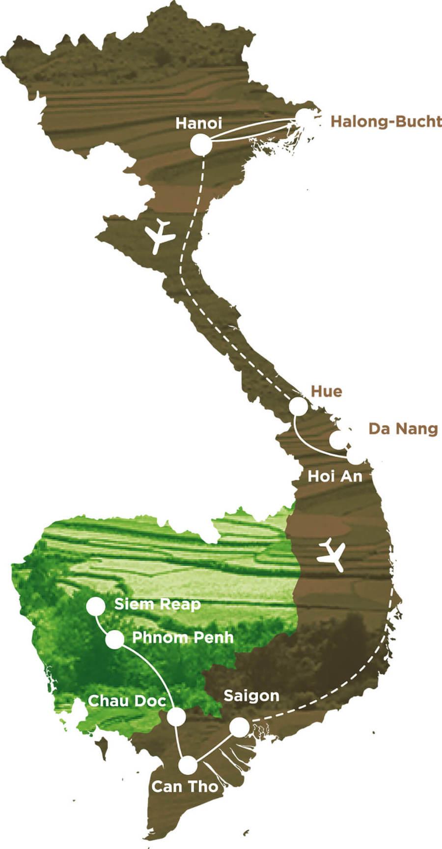 Routekaart Rundreise Vietnam & Kambodscha mit Kindern, 22 Tage